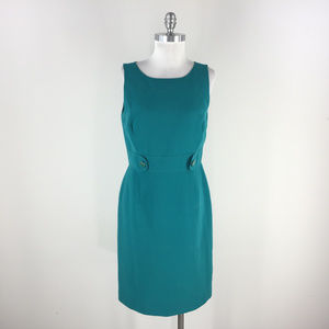 Tahari M 8 Teal Green Sheath dress Sleeveless Work